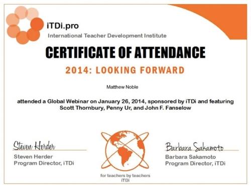 ITDi 2014 Webinar Cert